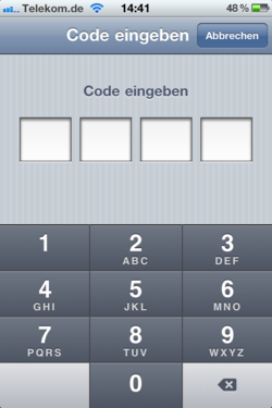 Screenshot: Sperrcode eingeben