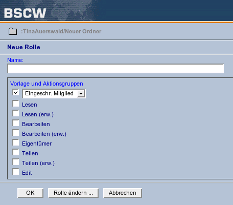 Screenshot: Neue Rolle in BSCW definieren