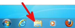 Screenshot: Windows 7 Superbar mit Explorer-Symbol