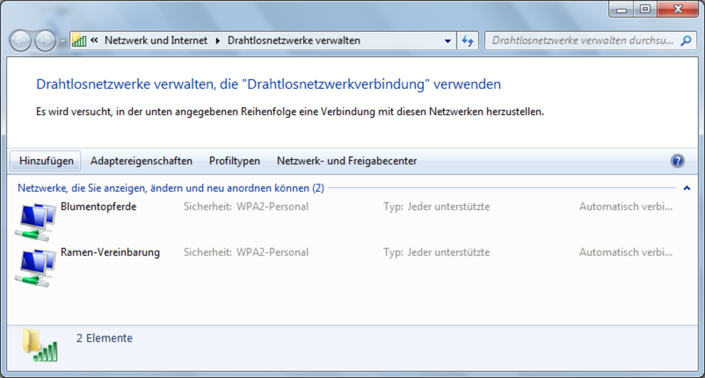 Screenshot: Drahtlosnetzwerk unter Windows