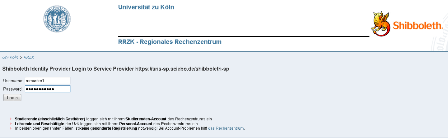 Screenshot: sciebo Registrierung - Authentifizierung mit Personal-Account