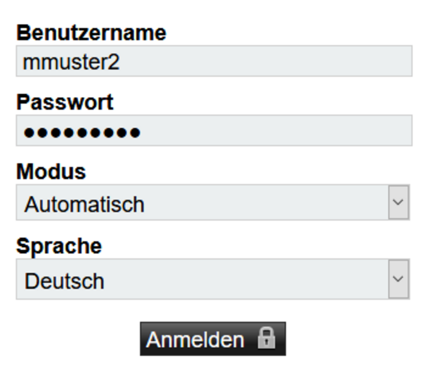 Screenshot: Login bei Webmail