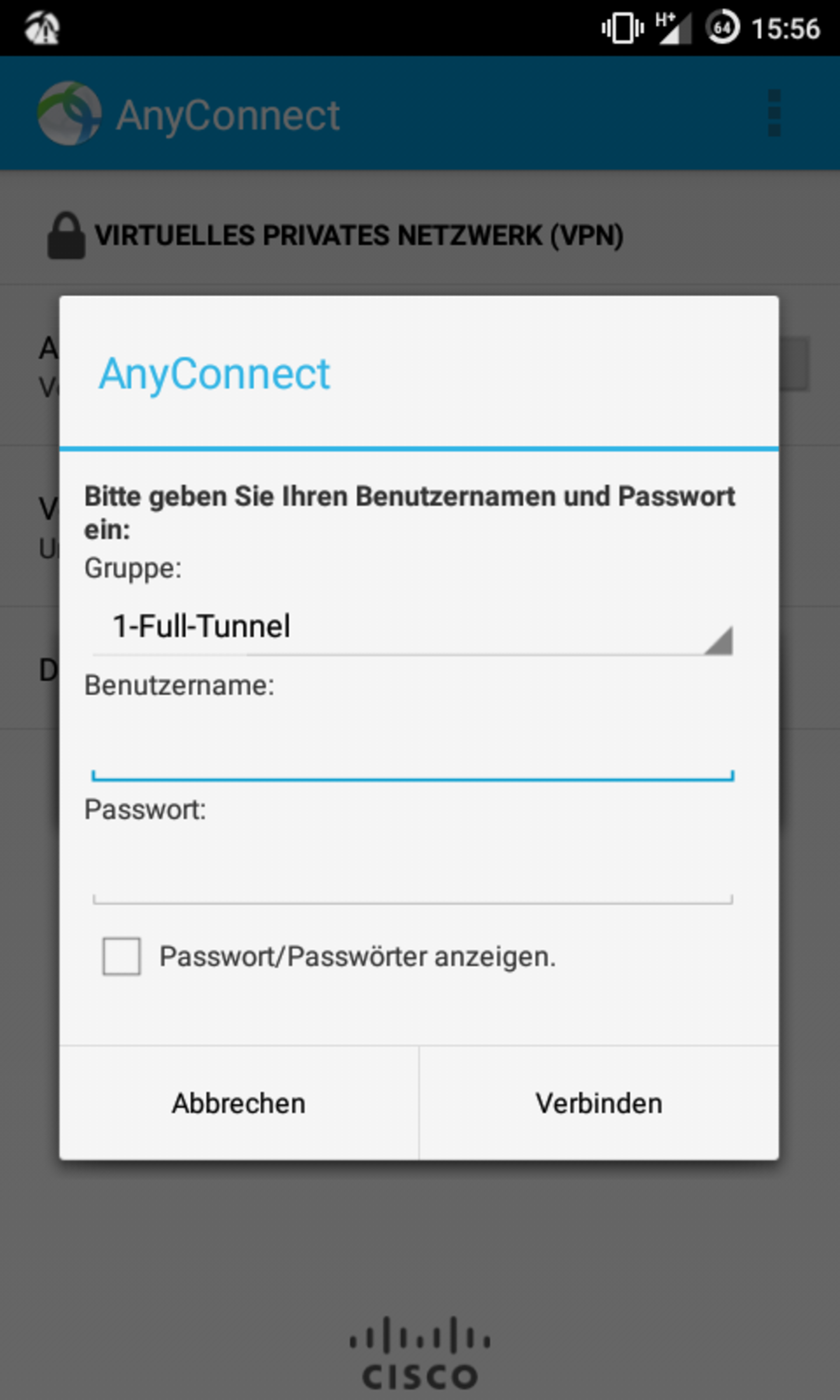 Screenshot: VPN-Verbindung